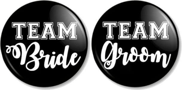 Team Bride & Team Groom set of 2 Pin Button Badges in various sizes Stag and Hen Do / Party Wedding