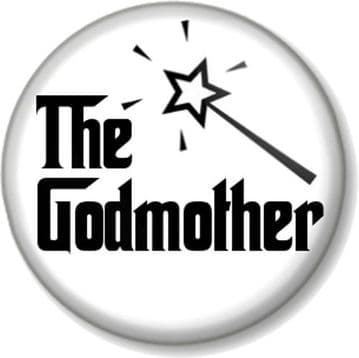 The GODMOTHER Pinback Button Badge Christening Baptism Fairy Wand Godfather (4)