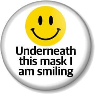 Underneath this mask I am smiling Pin Button Badge Face covering message funny joke