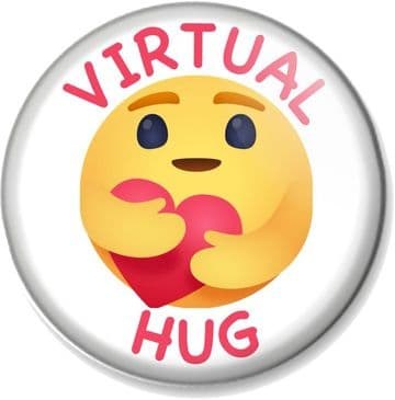 VIRTUAL HUG Pin Button Badge Send a socially distanced hug to a loved one