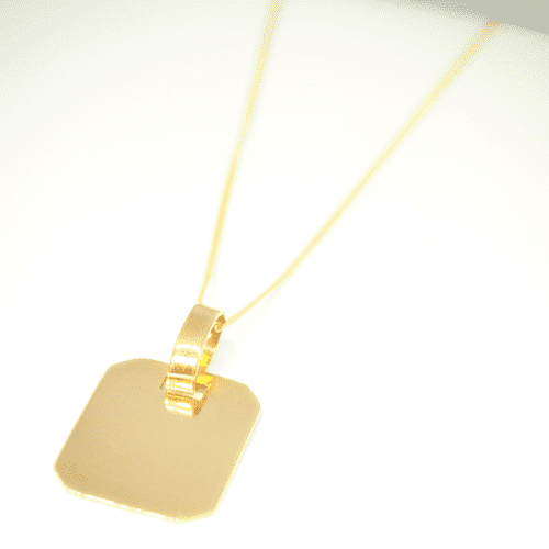 9ct yellow gold rectangular tag necklace