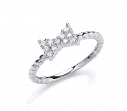 Girls silver bow ring