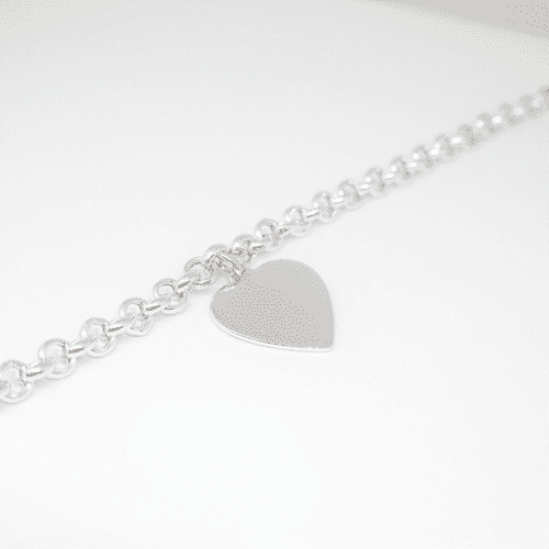Silver and large heart bracelet