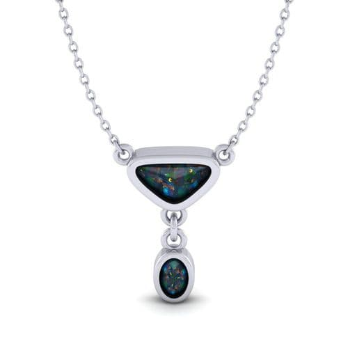 Silver gemstone collection necklace