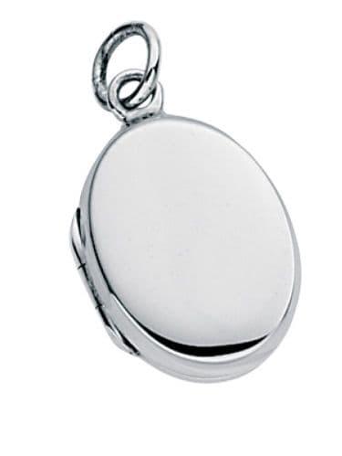 Silver oval engravable locket