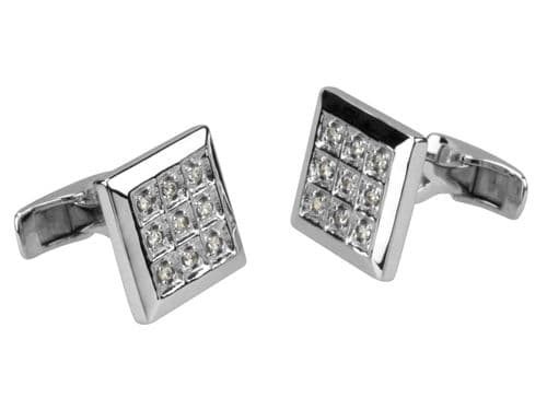 Sterling Silver Cufflink Square White Cubic Zirconia