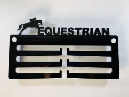 EQUESTRIAN Medal Display -  Hanger Holder Black Acrylic with fixings & FREE POST