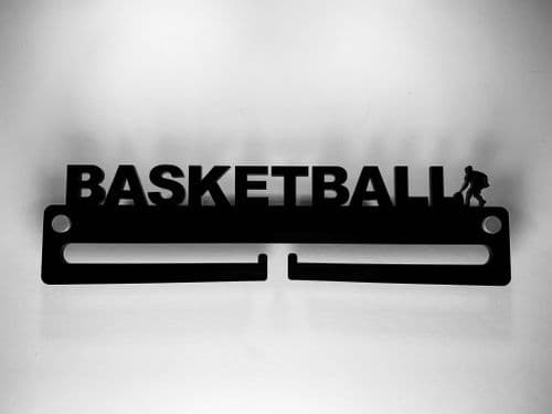 Medal Display Hanger Holder BASKETBALL Black Acrylic with fixings & FREE POST