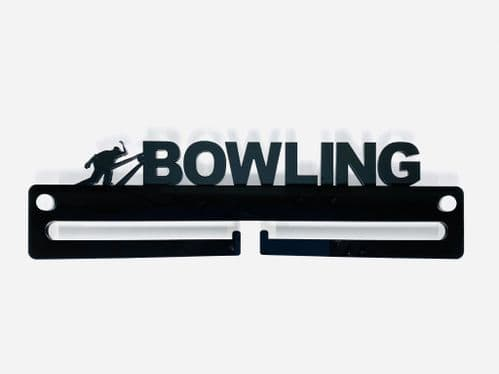 Medal Display Hanger Holder BOWLING Black Acrylic with fixings & FREE POST