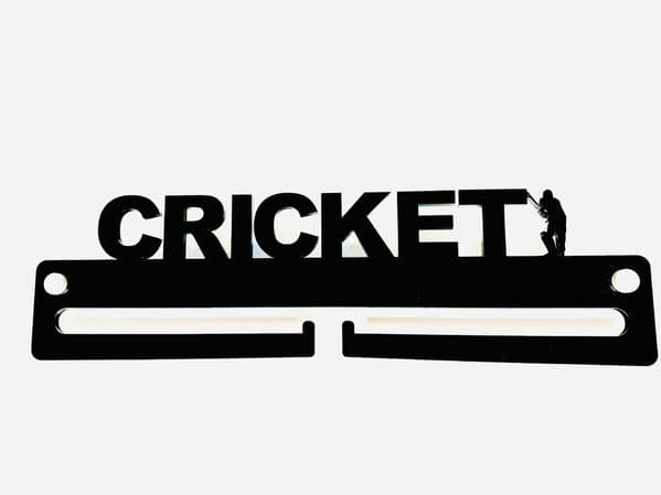 Medal Display Hanger Holder CRICKET Black Acrylic with fixings & FREE POST