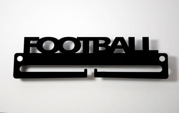 Medal Display Hanger Holder FOOTBALL Black Acrylic with fixings & FREE POST