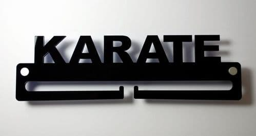 Medal Display Hanger Holder KARATE Black Acrylic with fixings & FREE POST