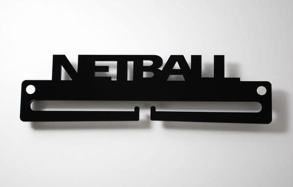 Medal Display Hanger Holder NETBALL Black Acrylic with fixings & FREE POST