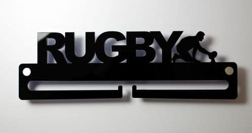 Medal Display Hanger Holder RUGBY Black Acrylic - fixings & FREE POST