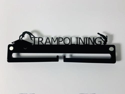 Medal Display Hanger Holder TRAMPOLINING Black Acrylic with fixings & FREE POST