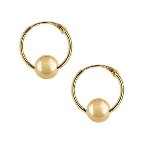 9ct Yellow Gold Hoops With Bead
