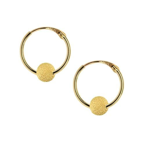 9ct Yellow Gold Hoops with Frosted Bead