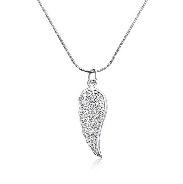 Angel Wing with CZ Pendant