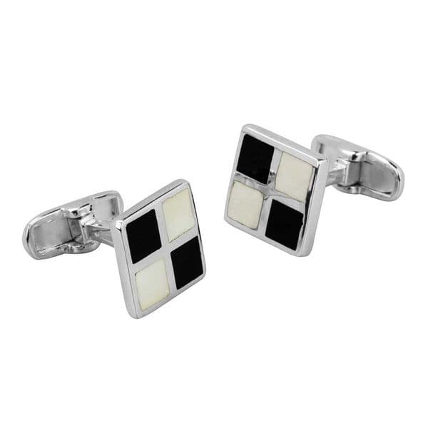 Cufflinks With Black And White Enamel
