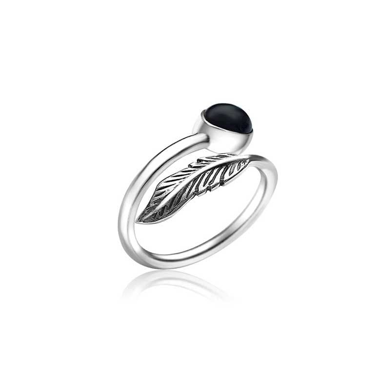 Onyx & Feather Ring