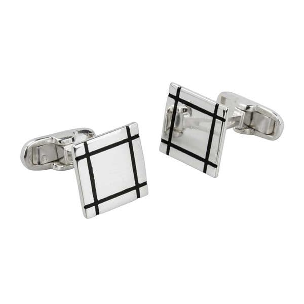 Square Cufflinks With  Lines
