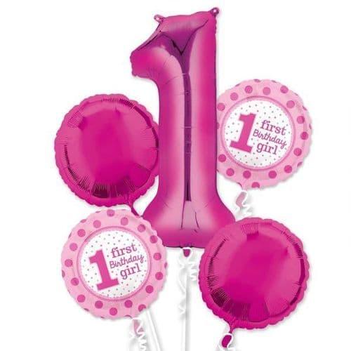 1st Birthday Girl Foil Balloon Bouquets