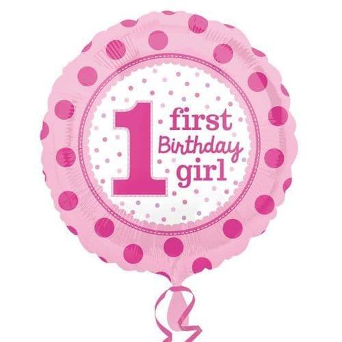 1st Birthday Girl Standard Foil Balloon