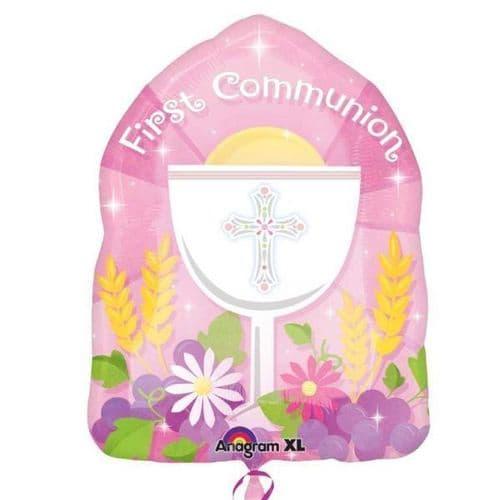 "1st Communion Pink JuniorShape 14"" x 18"""