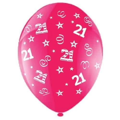 "25 x 11"" Birthday Perfection 21 Crystal Celebration Fuchsia Balloons"