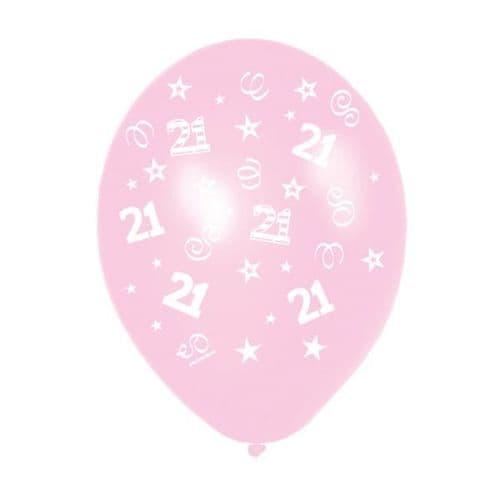"25 x 11"" Birthday Perfection 21 Metallic Pretty Pink Balloons"