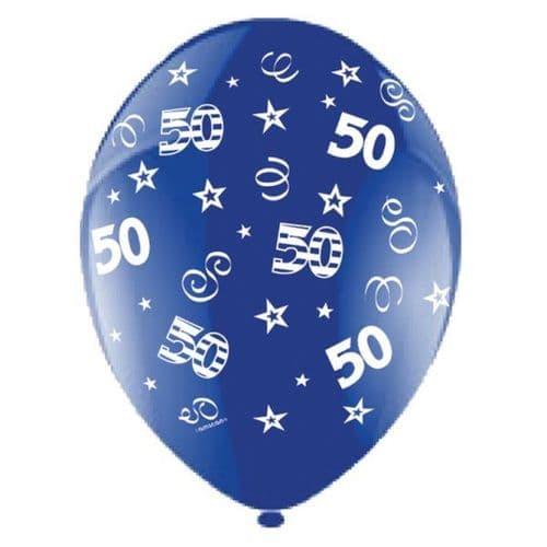 "25 x 11"" Birthday Perfection 50 Crystal Celebration Blue Balloons"