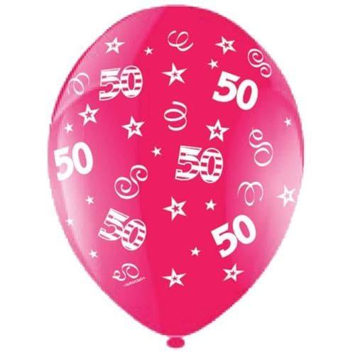 "25 x 11"" Birthday Perfection 50 Crystal Celebration Fuchsia Balloons"