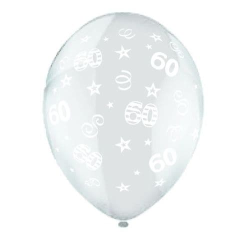 """25 x 11"""" Birthday Perfection 60 Crystal Celebration Clear Balloons"""