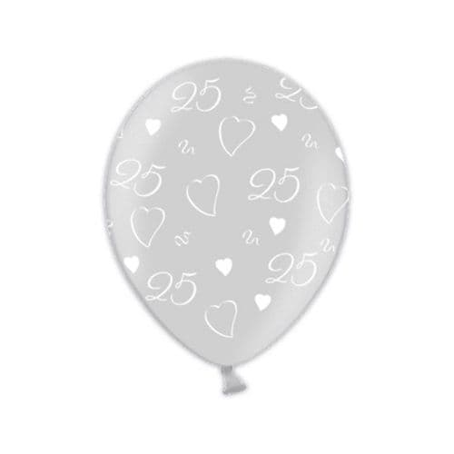 """25th Anniversary  Shimmering Silver Printed Latex Balloons 11"""" packet of 25"""