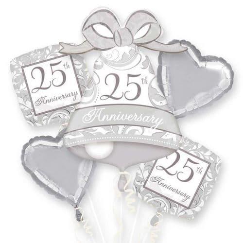 25th Anniversary Silver Scroll Foil Bouquet Balloon