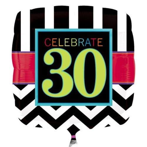 30th Chevron Square Standard Foil Balloon
