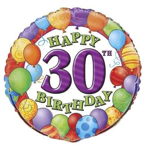 30th Happy Birthday Foil Balloon