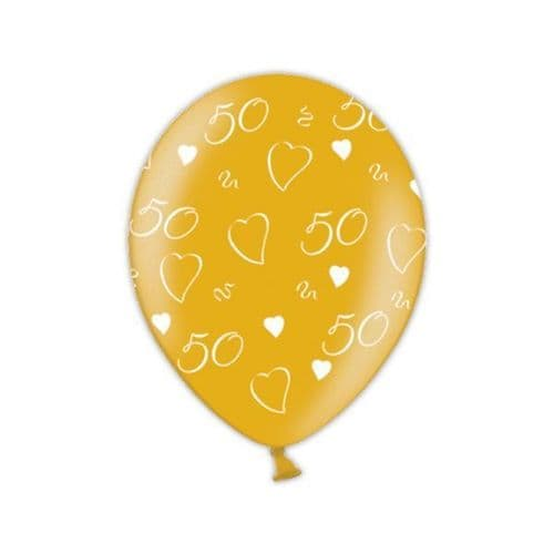 """50th Anniversary  Glamorous Gold Printed Latex Balloons 11"""" packet of 25"""