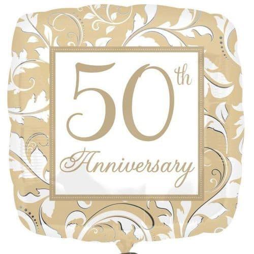 50th Anniversary Gold Elegant Scroll Standard Foil Balloon