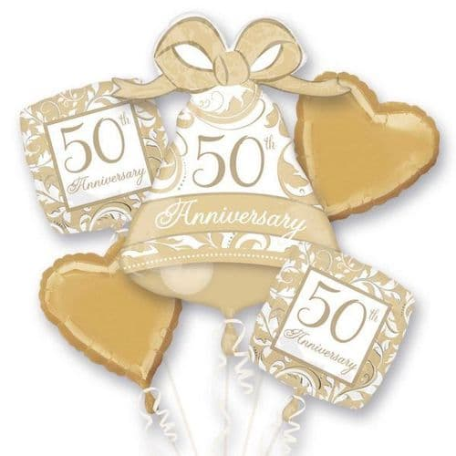 50th Anniversary Gold Scroll Foil Bouquet Balloons
