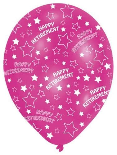 """6 x 11"""" All Round Printed Happy Retirement Latex Balloons"""