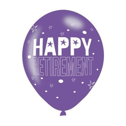 """6 x 11"""" Happy Retirement Assorted Colours Latex Balloons"""