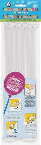 6 x 12'' Balloon Sticks/Cups White