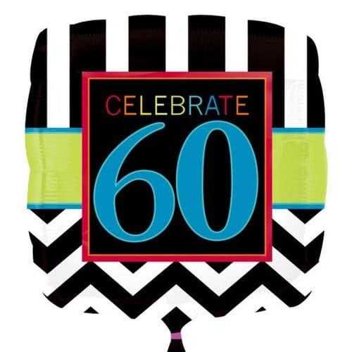60th Chevron Square Standard Foil Balloon