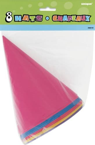 8 Party Hats-Assorted Colors 8's