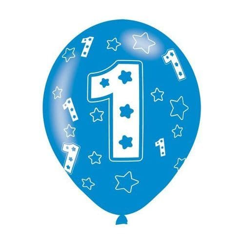 """Age 1 Blue Latex Balloons 11"""" packet of 6"""
