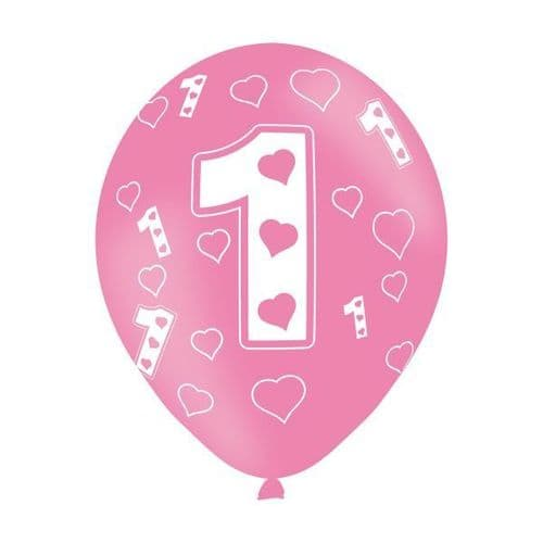 """Age 1 Pink Latex Balloons 11"""" packet of 6"""