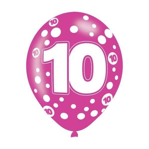 Age 10 Assorted Colours Latex Balloons