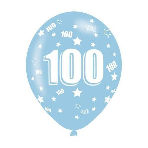 Age 100 Assorted Colours Latex Balloons