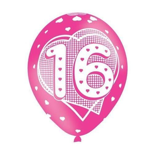 Age 16 Pink Latex Balloons